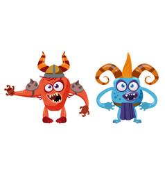 Goblin troll anf devil cute funny fairytale vector
