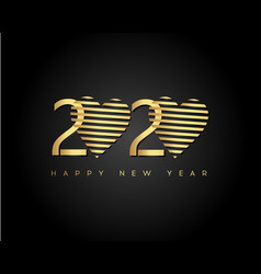 Gold happy new year 2020 with heart modern 2020 vector