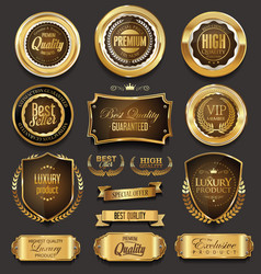 Golden sale frame badge and label collection vector