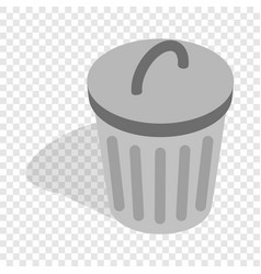 gray trash can isometric icon vector image