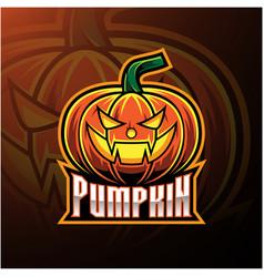 halloween pumpkin mascot logo design vector image