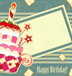 happy birthday vintage vector image