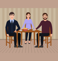 Happy family sitting at the table drinking tea vector