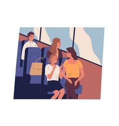 Happy people going public transport passengers vector