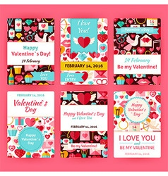 Happy Valentine Day Flat Invitation Template Set vector image