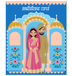 Indian couple in wedding ceremony of india flat vector