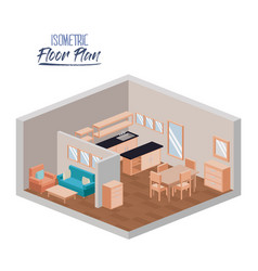 isometric floor plan of home living room and vector image