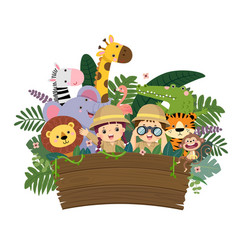 Kids and wild animals with empty wooden sign vector
