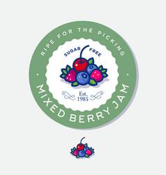Label for jam mixed berries vector