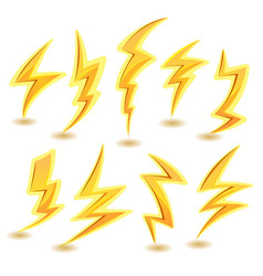 lightning bolts set vector image