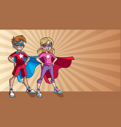 Little super kids ray light background vector