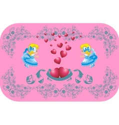 Lovely hearts surrounded by angels vector image