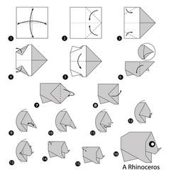 Make origami a rhinoceros vector
