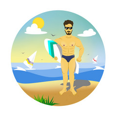 Man surfer with board vector
