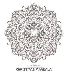 Mandala for coloring with christmas elements vector