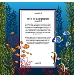Marine life in bright colors and vertical card vector
