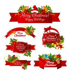 merry christmas wish greeting ribbon icons vector image