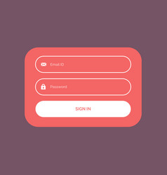 minimal flat color login form ui template design vector image