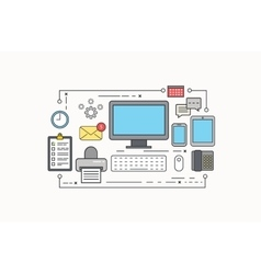 modern thin line flat design of workplace vector image