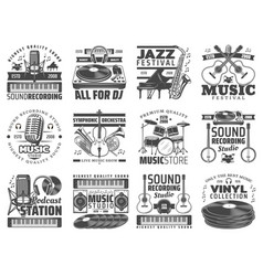 music store dj sound recording studio icons vector image