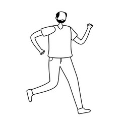 old man character running exercise activity vector image