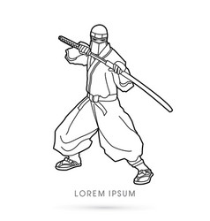 Outline ninja and sword vector