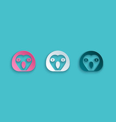 Paper cut owl bird icon isolated on blue vector