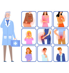 patients with sore body parts in consultation vector image