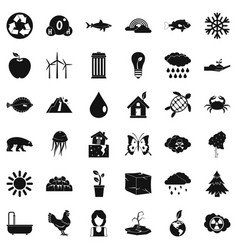 Planet earth icons set simple style vector
