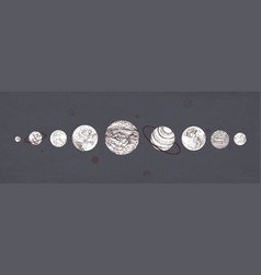 Planets organized in row against dark background vector