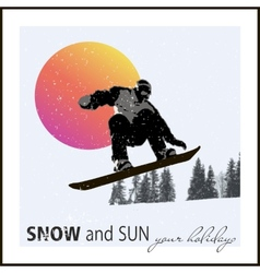 Poster snowboarder flying against the evening sun vector