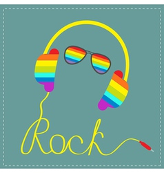Rainbow headphones cord word rock and sunglasses vector