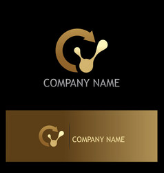 Recycle technology gold logo vector