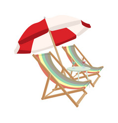 relaxing scene on a breezy day two deck chair vector image