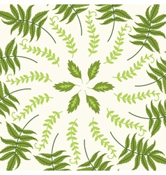 Round pattern with green leaves on a white backgro vector