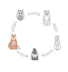 Round shape frame with cute baby fox bear owl vector
