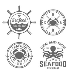 seafood vintage labels badges emblems vector image