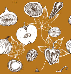 seamless pattern of apples peppers onions vector image