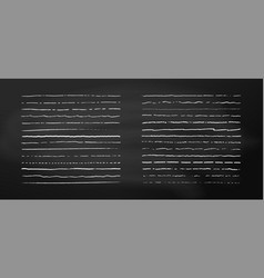 set chalk lines on chalkboard background hand vector image