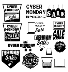 Set of cyber monday labels and badges on white vector
