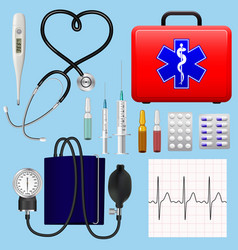 set of medical instruments instruments and vector image