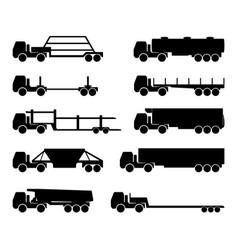 set silhouettes cargo trucks vector image