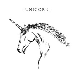 silhouette of a unicorn black and white vector image