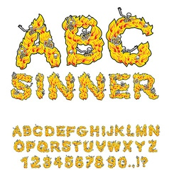 Sinner font Letters from flames Skeletons in hell vector
