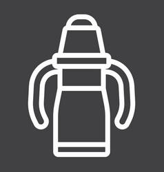 Sippy cup line icon baby cup and bottle vector