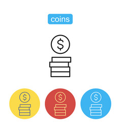 stack of coins icon vector image