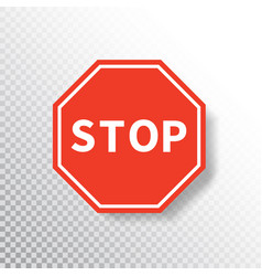 stop sign isolated on transparent background red vector image