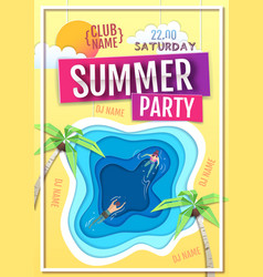 summer disco party poster with blue lagoon vector image