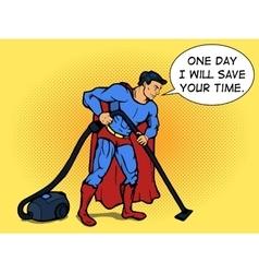 Superhero man with vacuum cleaner pop art vector image