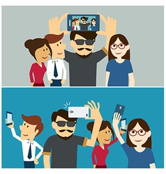 taking a selfie photo flat design vector image